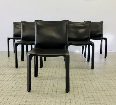 Set of 6 Vintage Cassina Cab 412 dining chairs by Mario Bellini