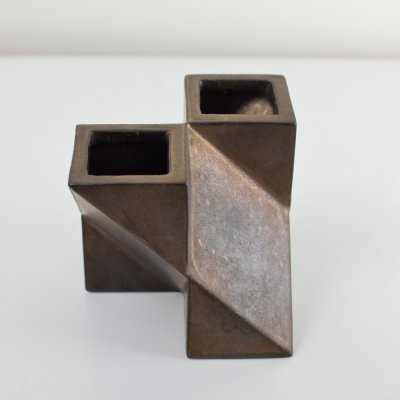 Constructivist vase with copper glazing by Jan van der Vaart for Oar Wurk Makkum, 1970s