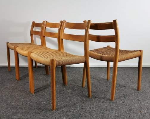 Set of 4 Model 84 Oak Dining Chairs by Niels Otto Møller, 1960's