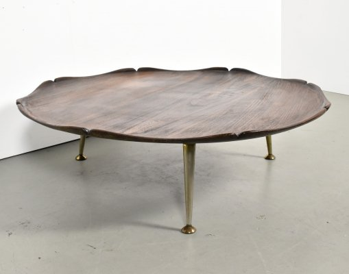 Italian curved wood coffee table with brass legs, 1960s