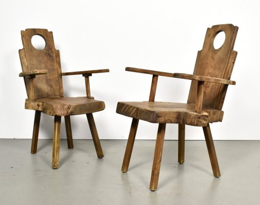 Pair of brutalist lounge chairs in solid oak, 1960s