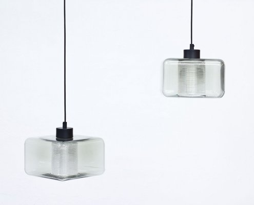 Pair of Glass Pendant Lamps by Carl Fagerlund for Orrefors