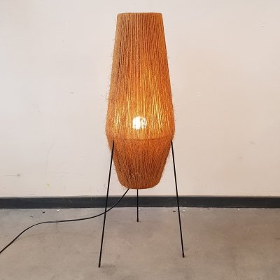 Danish hemp string rocket floor lamp by Ib Fabiansen for Fog & Mørup, 1960s