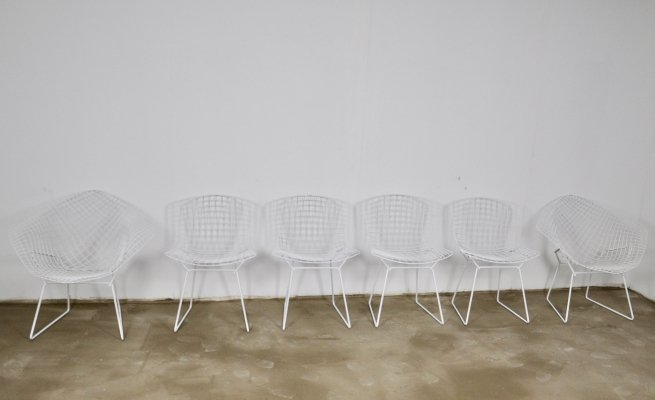 Set of 6 Metal Side Chairs by Harry Bertoia for Knoll, 1970s