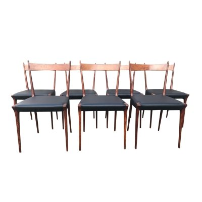 Set of 7 'S2' cherry wood dining chair by Alfred Hendrickx for Belform, 1950s