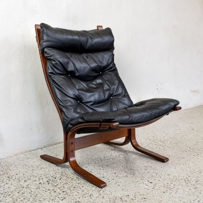 Black Leather Siesta Chair by Ingmar Relling for Westnofa