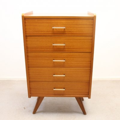 Chest with 5 drawers & golden handles, 1970s