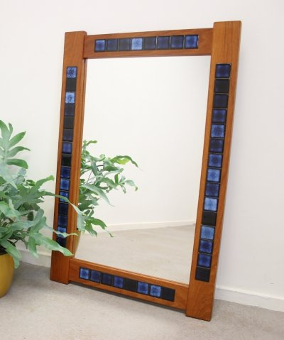 Danish Teak Mirror with Blue tiles inlaid, 1970s