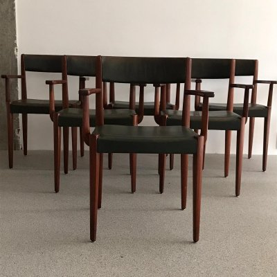 Set of 6 Fritz Hansen dining chair by Aage Christiansen, 1950s