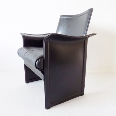 Black saddle leather 'Korium' chair by Tito Agnoli for Matteo Grassi, 1970s