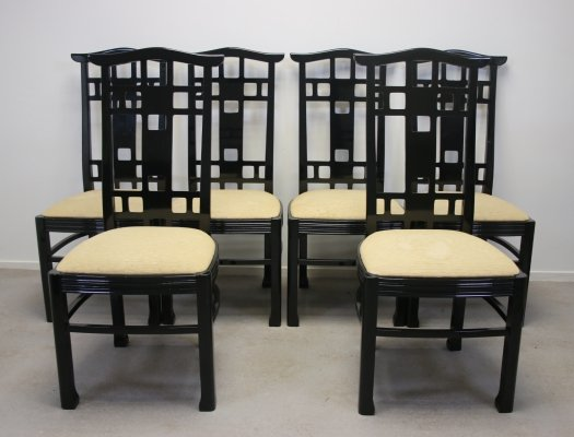 Set of 6 Black Lacquered Japanese style Dining room chairs, 1970s
