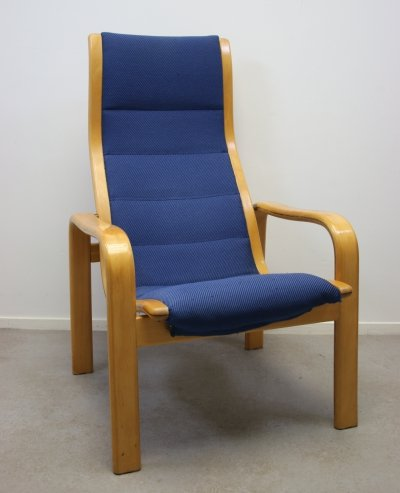 Dark blue Lamello chair by Yngve Ekström for Swedese, 1970s