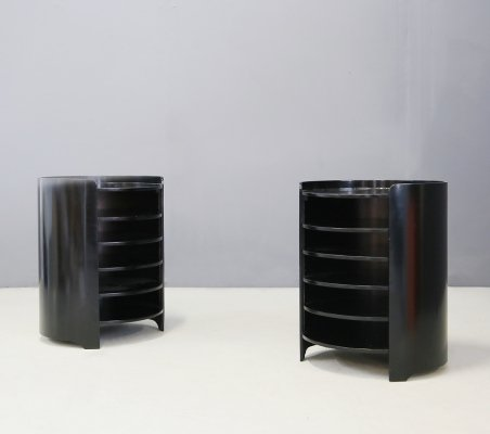 Pair of 'Casaccia' side tables with black wooden shelves designed by Luigi Caccia Dominioni, 1962