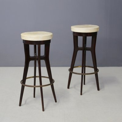 Pair of MidCentury stools in walnut, 1950s