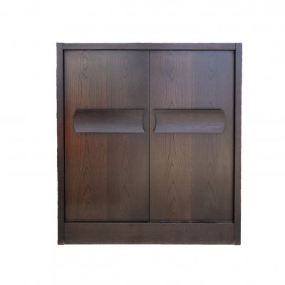 Brutalist Belgian De Coene Bar Cabinet refinished in dark brown stained oak, 1970s