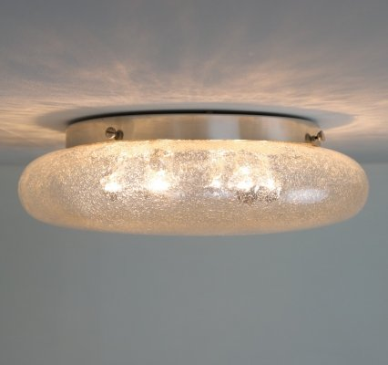 Large glass ceiling light, 1970s