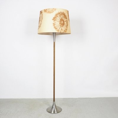Vintage Dutch floor lamp with fabric shade, 1960's