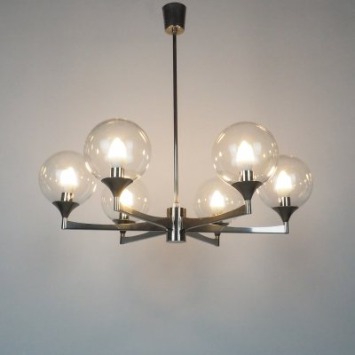 6-armed metal hanging lamp with glass shades, 1960's