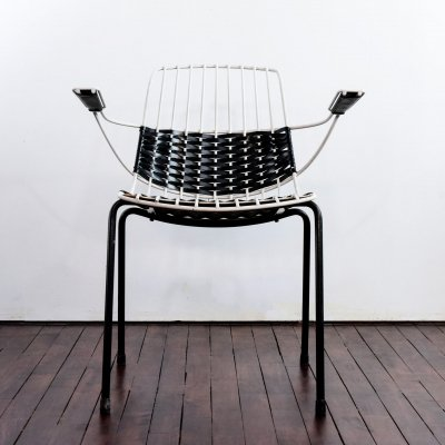 Vintage armchair in white metal & black & white plastic slats