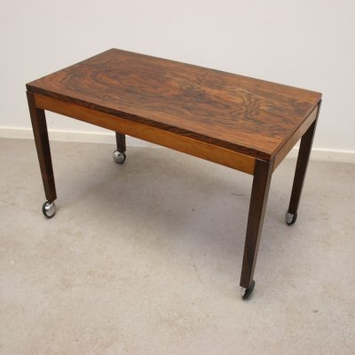 Rosewood end table on wheels, 1960s