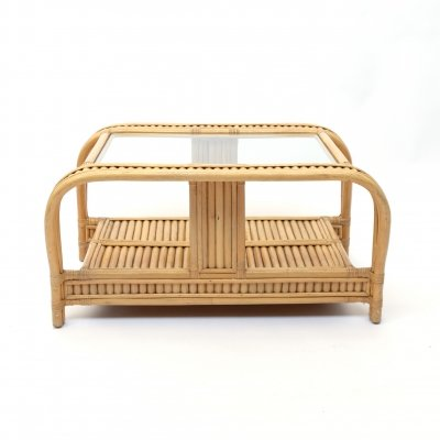 3 strand French vintage bamboo coffee table, 1970's