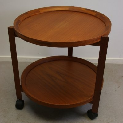 Danish Round Teak Trolley or Serving Cart, 1960s
