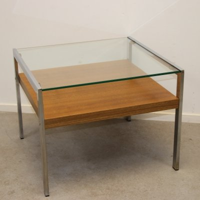 Coffee table with glass plate & chrome frame, 1970s