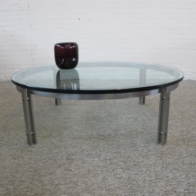 Round Glass M1 Coffee Table by Hank Kwint for Metaform, 1970s
