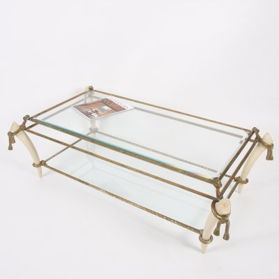 French Early Twentieth Century Brass & Faux Ivory Table