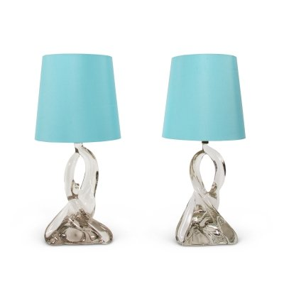Pair of Twisted Crystal Table Lamps, French 1960s