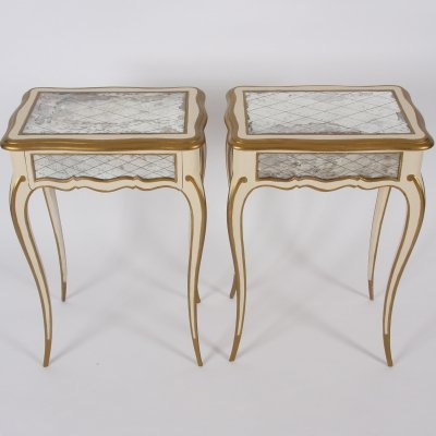 Pair of Italian 1950s Painted & Gilt Side Tables