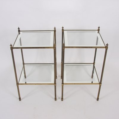 Pair of French 1960s Two-Tier Brass Side Tables With Mirrored Borders