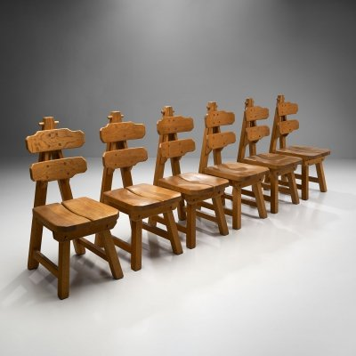 Set of 6 Brutalist Chairs in Solid Oak, Spain 1970s