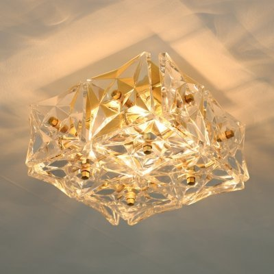 Pair of brass & crystal glass ceiling lights by Kinkeldey, 1970s
