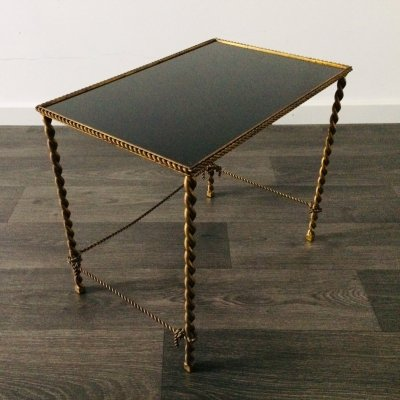 1950's French Regency Style Side Table with Black Glass & Brass Rope legs