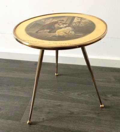 Italian Design Brass Tripod Side Table with printed top, 1950's