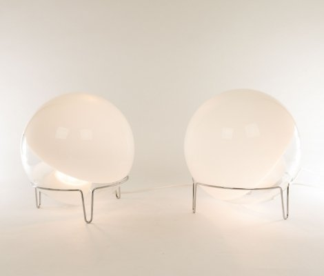Pair of table lamps in Murano glass by Angelo Mangiarotti for Skipper