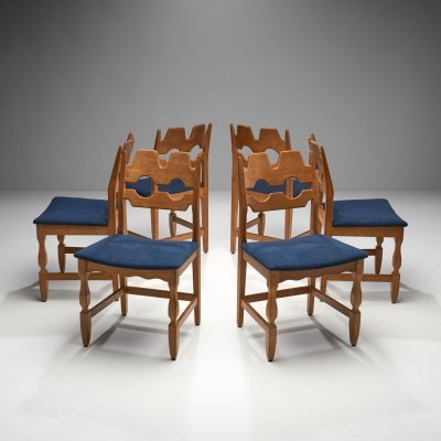 Set of 6 Razorblade Dining Chairs by Henning Kjaernulf, Denmark 1960s