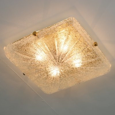 Brass & crystal glass ceiling light, 1970s