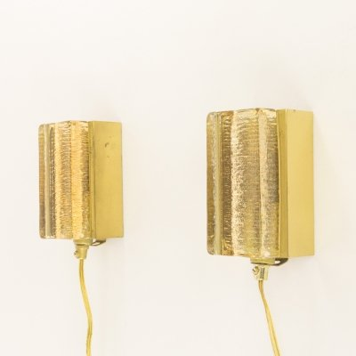 Pair of Atlantic glass & brass Wall lamps by Vitrika in gold