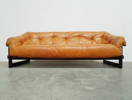 3-seater sofa in original cognac leather by Percival Lafer, 1960s
