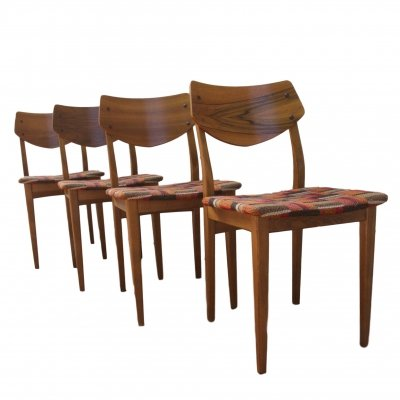 Set of 4 Danish Walnut chairs with woolen cover, 1960s