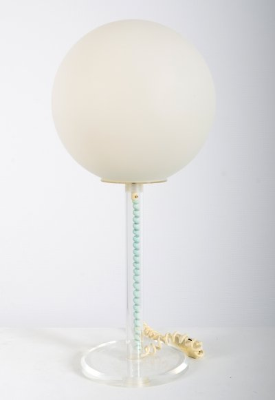 Harco Loor table desk lamp with perspex frame & glass bowl, 1960s