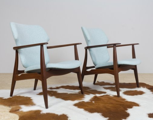Pair of Louis van Teeffelen for Wébé chairs in blue felt & teak, 1960s