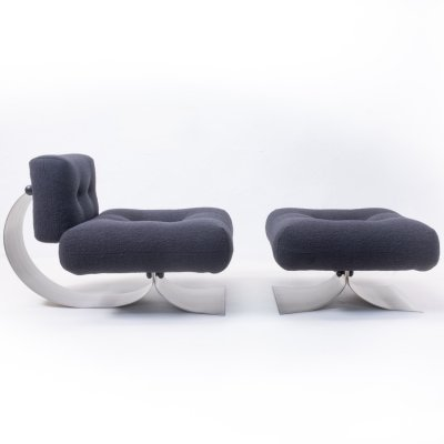 ON1 Lounge Chair & ottoman by Oscar Niemeyer for Mobilier International, 1970s