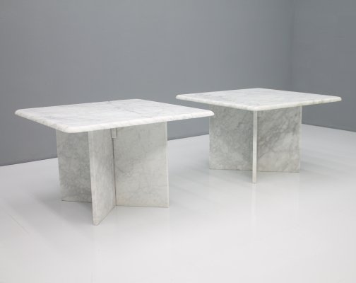 Pair of Carrara Marble Side Tables, 1970s