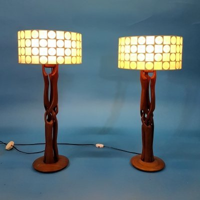 Pair of unique hand carved teak table lamps, 1960s