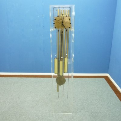 Plexiglass Brass Clock from Kieninger, 1970s