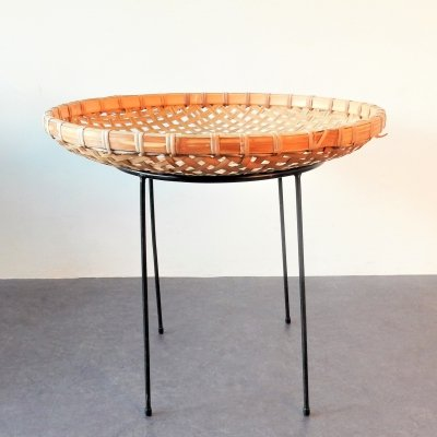 Rattan bamboo magazine basket stand by Artimeta, The Netherlands 1960's