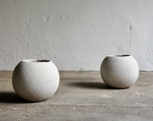 Spherical Brutalist Concrete Planters, 1960s